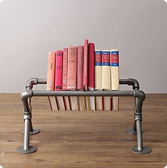 Industrial Pipe Tabletop Book Storage