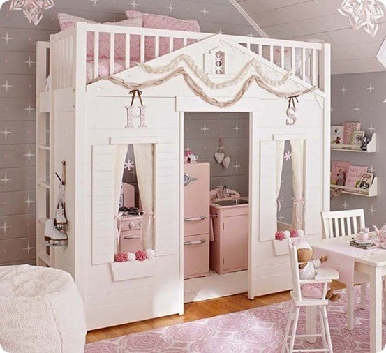 Cottage Loft Bed For A Little Girl's Room