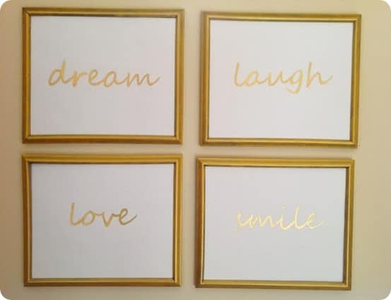 Pottery Barn Kids inspired Gold Script wall art