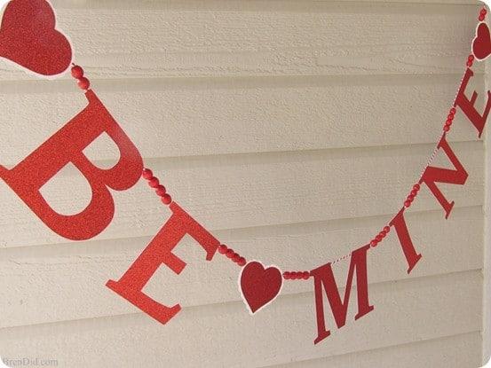 Pottery Barn inspired Valentine's glitter banner