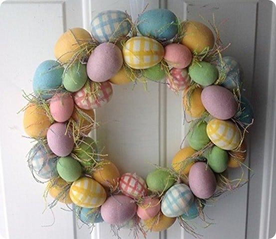 Spring Gingham Easter Egg Wreath