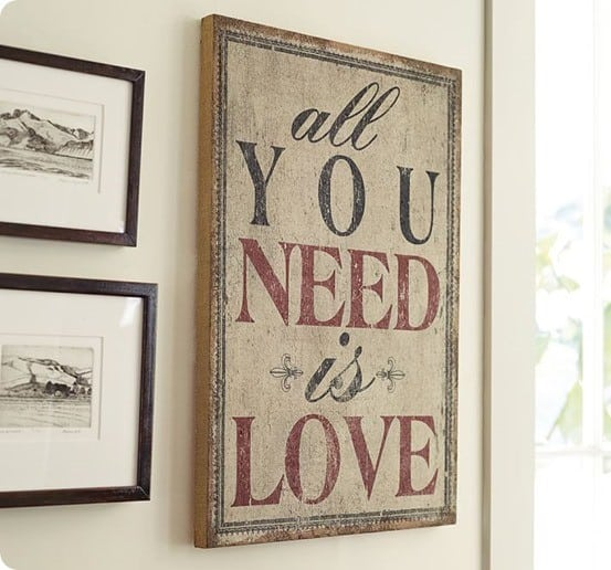 Cool all you need is love sign