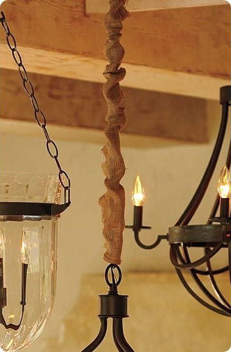 burlap chandelier cord cover from pottery barn