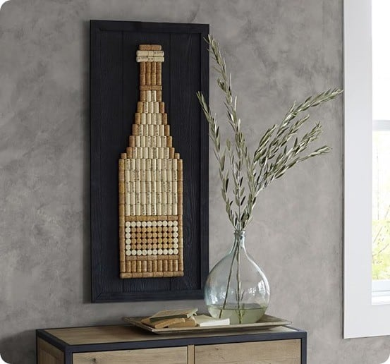 wine corks upcycled into wall art