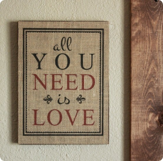 pottery barn inspired all you need is love sign