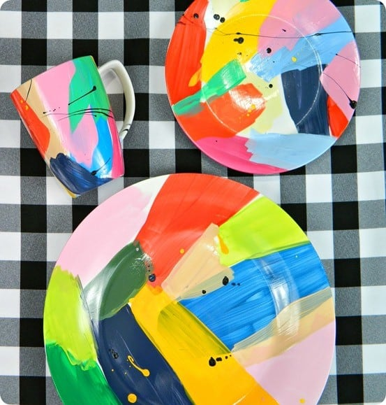 Abstract Painted Plates