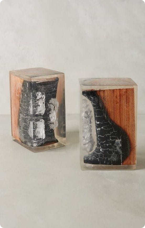 Charred Wood Bookends from Anthropologie