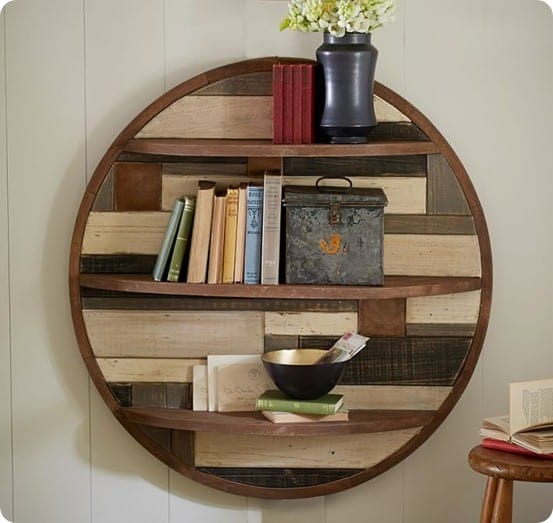 Circular Planked Wood Shelf