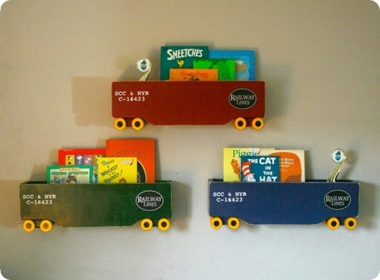 DIY Home Decor Kid Train Shelves