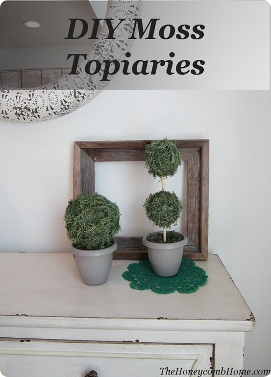 Dollar Store Moss Topiaries