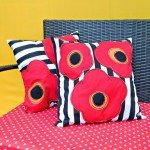 Outdoor Poppy Pillows with Stripes
