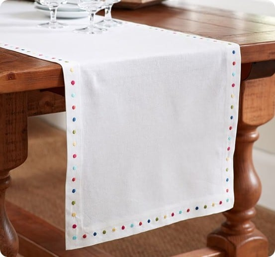 Embroidered Dot Table Runner