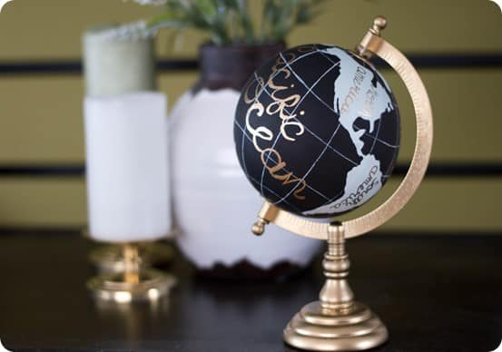 Handpainted Globe With Gold Lettering Knockoffdecor Com