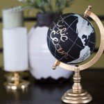 Handpainted Globe with Gold Lettering