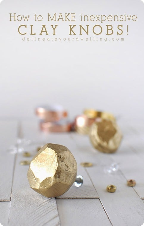 DIY Home Decor  Gold Clay Knobs