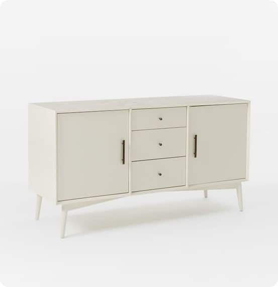 brit was inspired by the mid century console from west elm