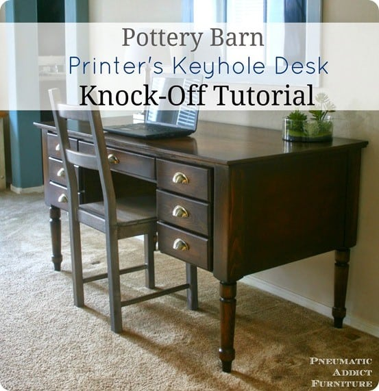 Pottery Barn Inspired Printer's Keyhole Desk with FREE Plans