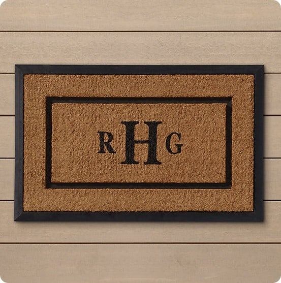 Restoration Hardware personalized doormat
