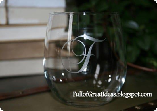 etched monogram wine glass