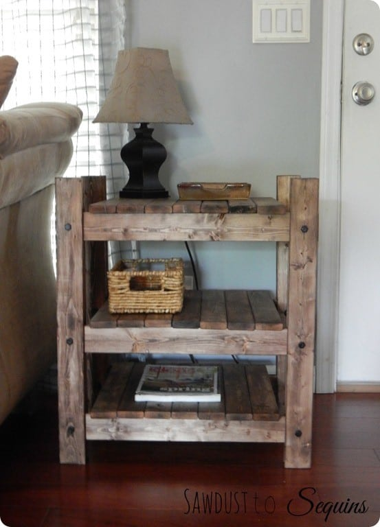 Arhaus Inspired Wood End Table with Shelves ~ FREE Plans