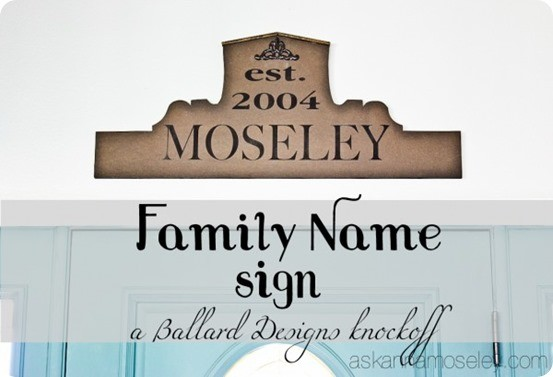Ballard Design Knock Off Family Name Sign