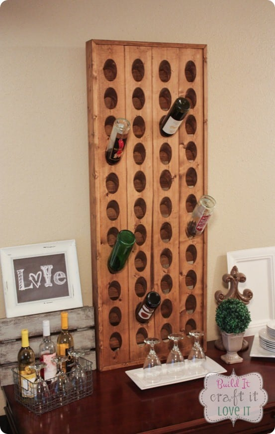 Build your own Pottery Barn inspired wine rack with this DIY tutorial!