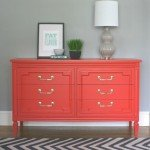 Coral and Brass Painted Dresser