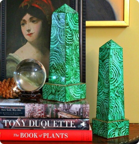 DIY Home Decor Faux Malachite Obelisks