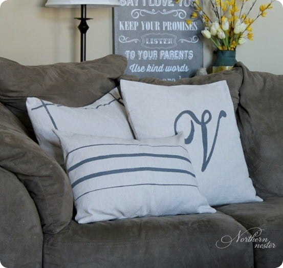 DIY Home Decor ~ Grain Sack Pillow Tutorial