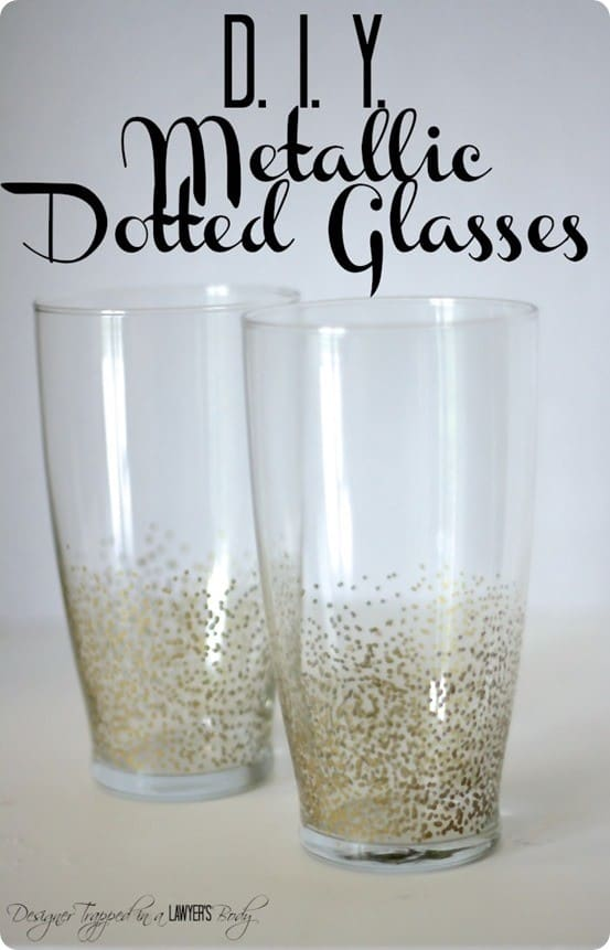 DIY Metallic Dot Glasses inspired by Anthropologie