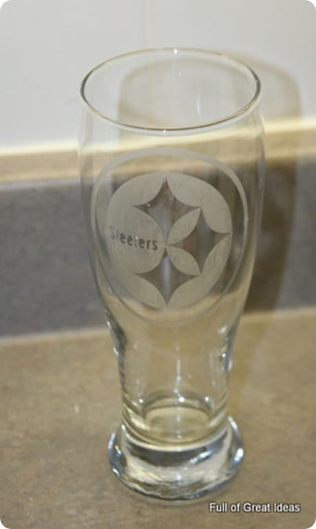 Etched NFL Glass