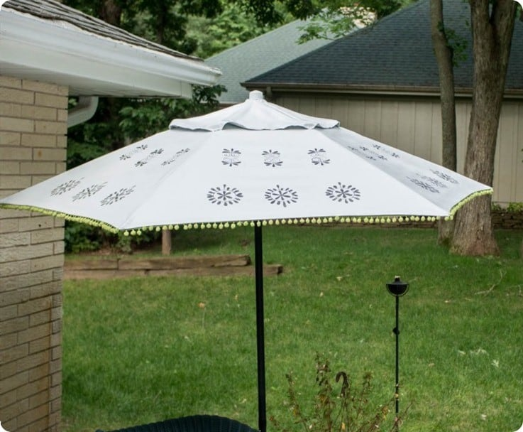 Floral Medallion Painted Patio Umbrella Knockoffdecor Com