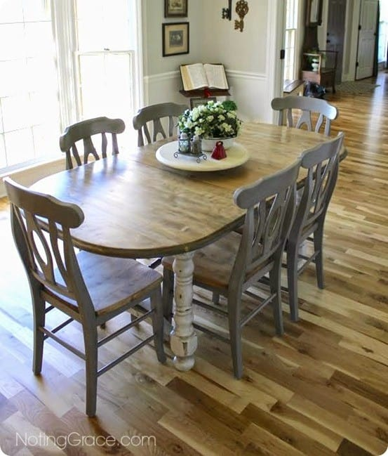 Painted Furniture Weathered Gray Dining Table Makeover