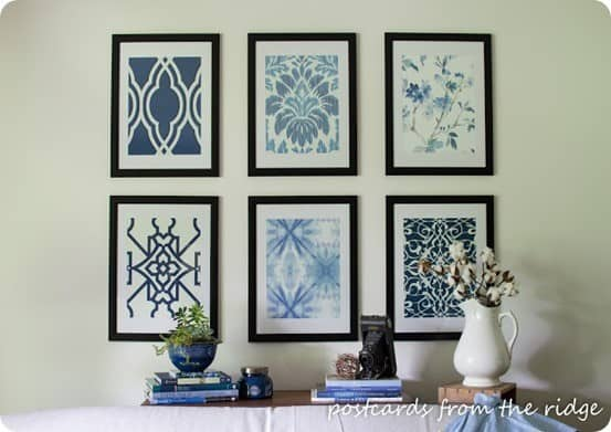 Pottery Barn Inspired Blue Wall Print Set