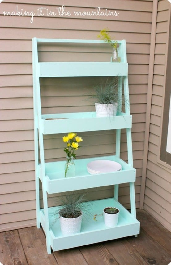 Diy ladder shelf for the patio - Ladder plant stand plans free ...