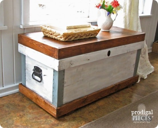 Pottery Barn Inspired Rustic Wood Storage Bench