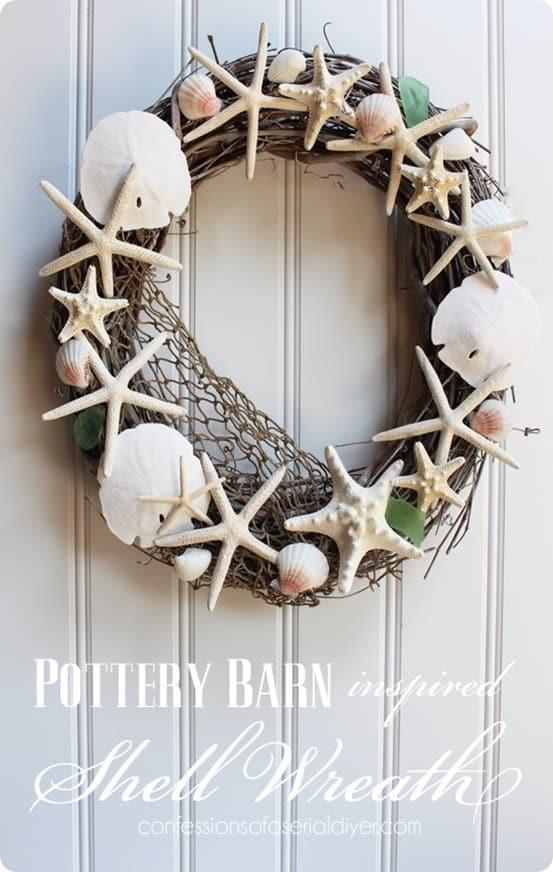 Beachy shell wreath for summer for Seashell wreath craft ideas