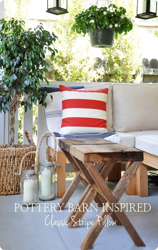 Pottery Barn Knock Off Classic Stripe Outdoor Pillow