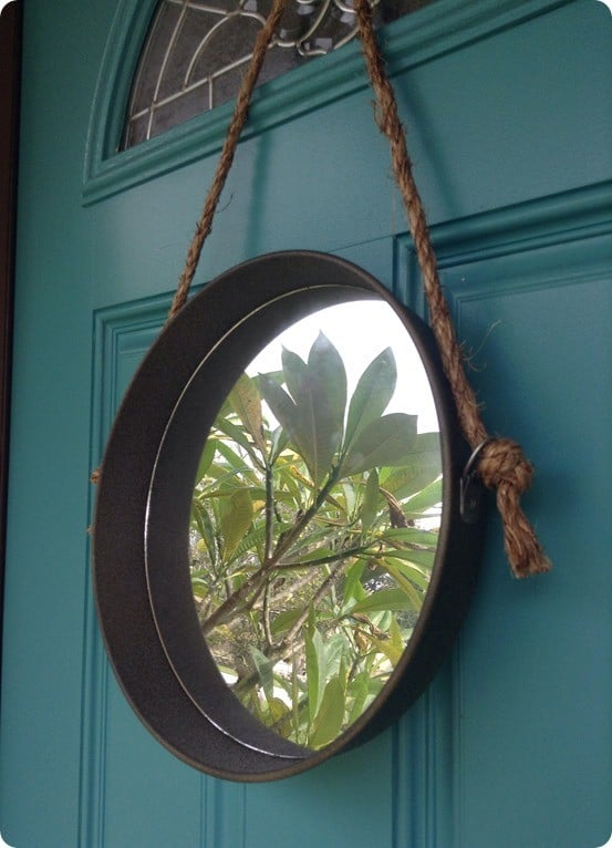 Metal and rope wall mirror for Restoration hardware round mirror