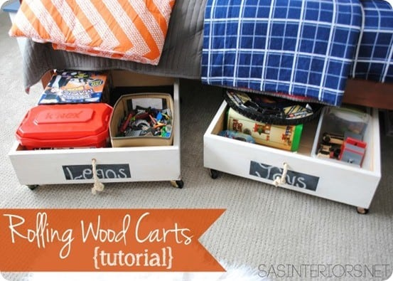 Rolling Wood Under Bed Storage Carts