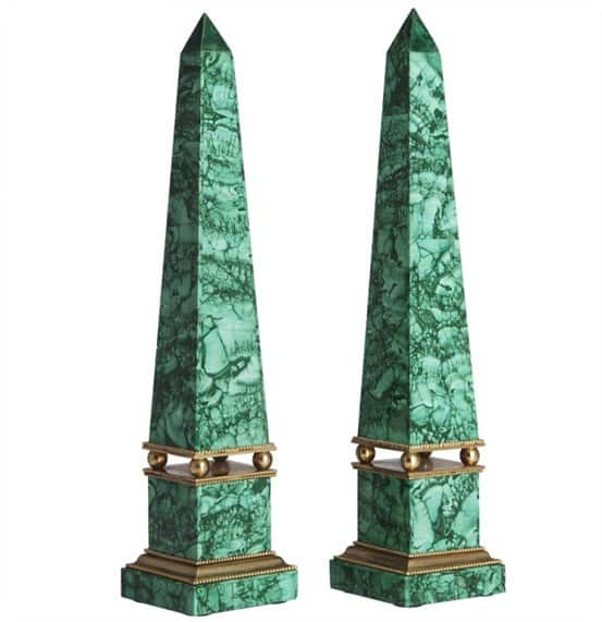 Russian Malachite and Gilt Bronze Obelisks, 19th Century