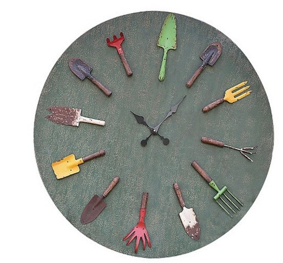 Wall Clock with Garden Tools