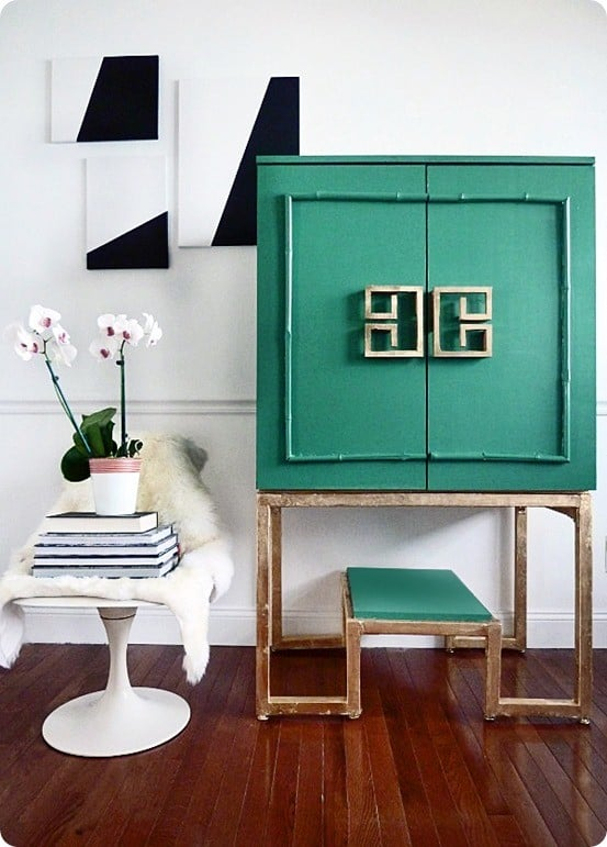 Stylish Green And Gold Cabinet Knockoffdecor Com