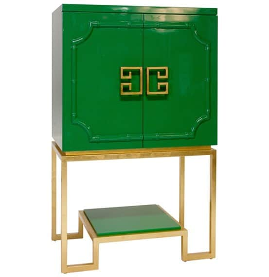 Worlds Away Anna Green Lacquer Bar Cabinet