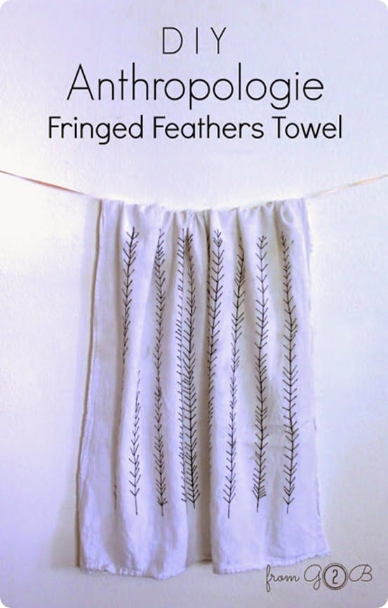 Anthropologie Fringed Feathers Kitchen Towel