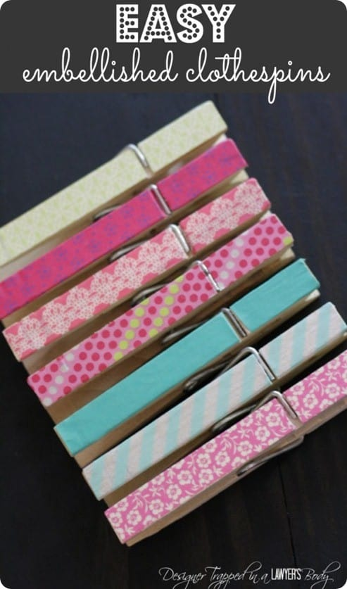 DIY Crafts ~ Washi Tape Clothespins