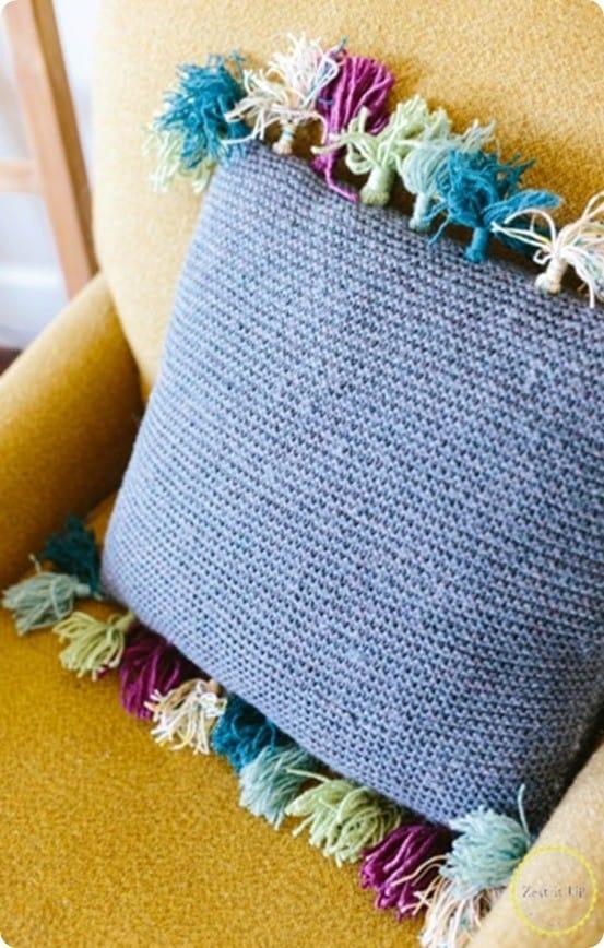 DIY Knit Tassel Pillow