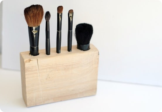 DIY Wood Makeup Brush Holder