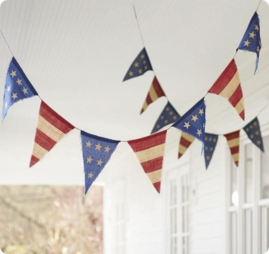 Pottery Barn Burlap Fourth of July Party Banner