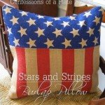 Burlap American Flag Pillow